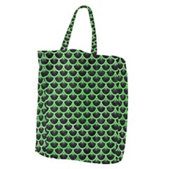Scales3 Black Marble & Green Watercolor Giant Grocery Zipper Tote by trendistuff