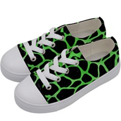 Skin1 Black Marble & Green Watercolor (r) Kids  Low Top Canvas Sneakers by trendistuff