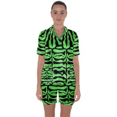 Skin2 Black Marble & Green Watercolor (r) Satin Short Sleeve Pyjamas Set by trendistuff
