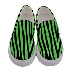 Skin4 Black Marble & Green Watercolor (r) Women s Canvas Slip Ons