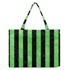 Stripes1 Black Marble & Green Watercolor Zipper Medium Tote Bag by trendistuff