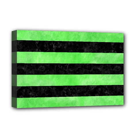 Stripes2 Black Marble & Green Watercolor Deluxe Canvas 18  X 12   by trendistuff
