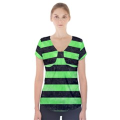 Stripes2 Black Marble & Green Watercolor Short Sleeve Front Detail Top by trendistuff
