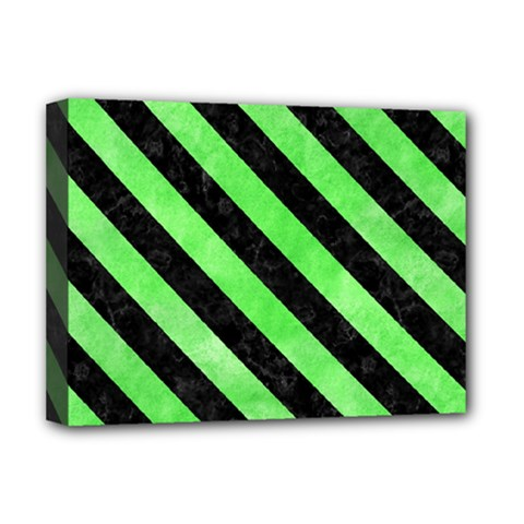 Stripes3 Black Marble & Green Watercolor (r) Deluxe Canvas 16  X 12   by trendistuff
