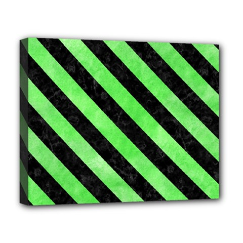 Stripes3 Black Marble & Green Watercolor (r) Deluxe Canvas 20  X 16   by trendistuff