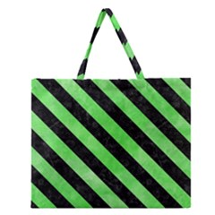 Stripes3 Black Marble & Green Watercolor (r) Zipper Large Tote Bag by trendistuff