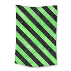 Stripes3 Black Marble & Green Watercolor (r) Small Tapestry