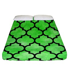 Tile1 Black Marble & Green Watercolor (r) Fitted Sheet (queen Size) by trendistuff