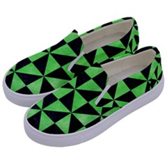 Triangle1 Black Marble & Green Watercolor Kids  Canvas Slip Ons by trendistuff