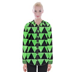 Triangle2 Black Marble & Green Watercolor Womens Long Sleeve Shirt