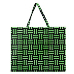 Woven1 Black Marble & Green Watercolor Zipper Large Tote Bag by trendistuff