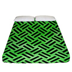 Woven2 Black Marble & Green Watercolor (r) Fitted Sheet (queen Size) by trendistuff