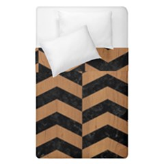 Chevron2 Black Marble & Light Maple Wood Duvet Cover Double Side (single Size) by trendistuff