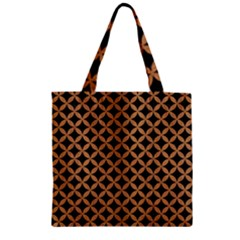 Circles3 Black Marble & Light Maple Wood Zipper Grocery Tote Bag by trendistuff