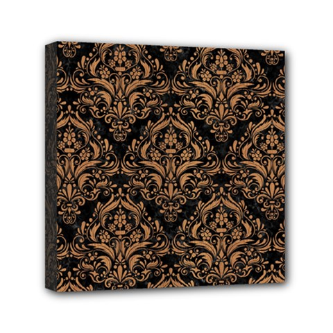 Damask1 Black Marble & Light Maple Wood Mini Canvas 6  X 6  by trendistuff