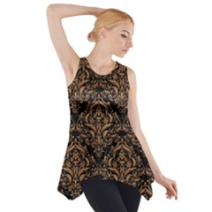 Damask1 Black Marble & Light Maple Wood Side Drop Tank Tunic