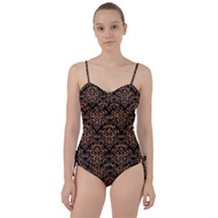 Damask1 Black Marble & Light Maple Wood Sweetheart Tankini Set
