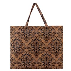 Damask1 Black Marble & Light Maple Wood (r) Zipper Large Tote Bag by trendistuff