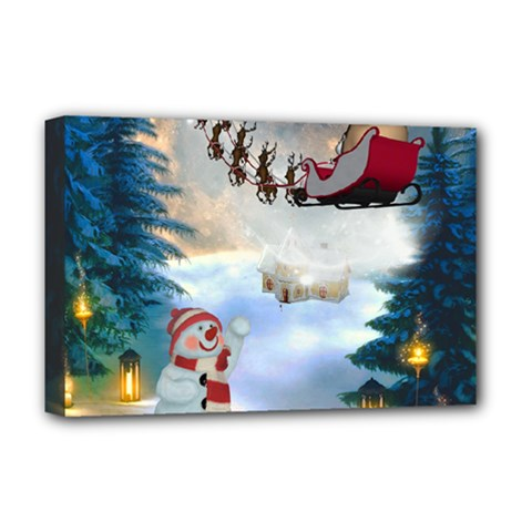 Christmas, Snowman With Santa Claus And Reindeer Deluxe Canvas 18  X 12   by FantasyWorld7