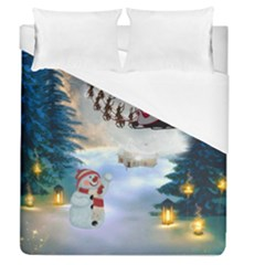 Christmas, Snowman With Santa Claus And Reindeer Duvet Cover (queen Size) by FantasyWorld7