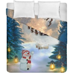 Christmas, Snowman With Santa Claus And Reindeer Duvet Cover Double Side (california King Size) by FantasyWorld7