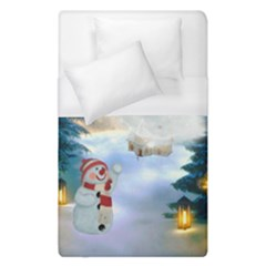 Christmas, Snowman With Santa Claus And Reindeer Duvet Cover (single Size) by FantasyWorld7