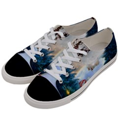 Christmas, Snowman With Santa Claus And Reindeer Women s Low Top Canvas Sneakers by FantasyWorld7