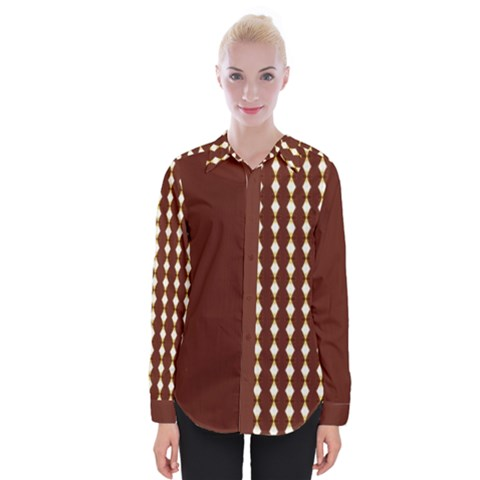 African Cream Diamond Block Womens Long Sleeve Shirt by MissUniqueDesignerIs