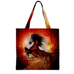 Awesome Creepy Running Horse With Skulls Grocery Tote Bag by FantasyWorld7