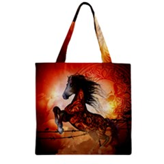 Awesome Creepy Running Horse With Skulls Zipper Grocery Tote Bag by FantasyWorld7