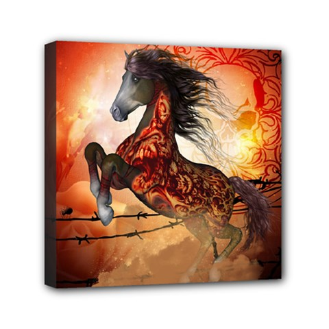 Awesome Creepy Running Horse With Skulls Mini Canvas 6  X 6  by FantasyWorld7