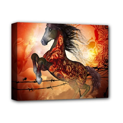 Awesome Creepy Running Horse With Skulls Deluxe Canvas 14  X 11  by FantasyWorld7