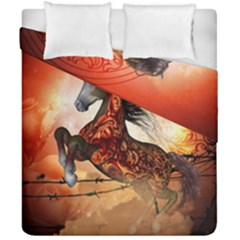 Awesome Creepy Running Horse With Skulls Duvet Cover Double Side (california King Size) by FantasyWorld7