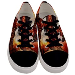Awesome Creepy Running Horse With Skulls Men s Low Top Canvas Sneakers