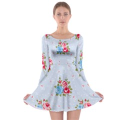 Cute Shabby Chic Floral Pattern Long Sleeve Skater Dress by 8fugoso