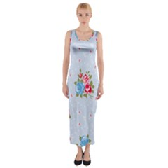 Cute Shabby Chic Floral Pattern Fitted Maxi Dress by 8fugoso