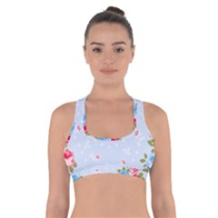 Cute Shabby Chic Floral Pattern Cross Back Sports Bra by 8fugoso