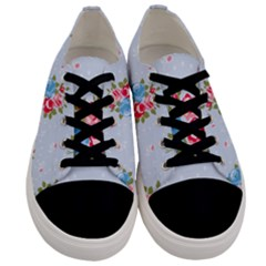 Cute Shabby Chic Floral Pattern Men s Low Top Canvas Sneakers