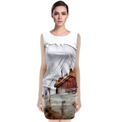 French Coffee Style Abstract Art Classic Sleeveless Midi Dress by 8fugoso