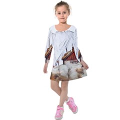 French Coffee Style Abstract Art Kids  Long Sleeve Velvet Dress