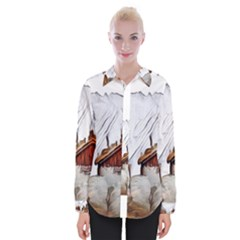 French Coffee Style Abstract Art Womens Long Sleeve Shirt by 8fugoso