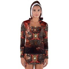 Wonderful Floral Design With Diamond Long Sleeve Hooded T-shirt by FantasyWorld7