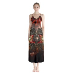 Wonderful Floral Design With Diamond Button Up Chiffon Maxi Dress by FantasyWorld7