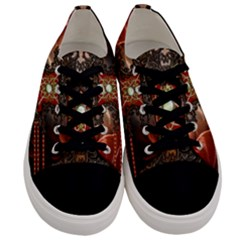 Wonderful Floral Design With Diamond Men s Low Top Canvas Sneakers