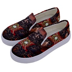 Wonderful Floral Design With Diamond Kids  Canvas Slip Ons by FantasyWorld7