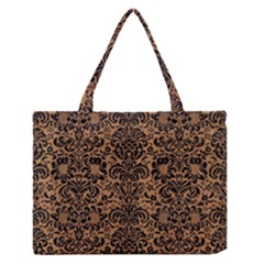 Damask2 Black Marble & Light Maple Wood (r) Zipper Medium Tote Bag by trendistuff