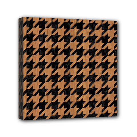 Houndstooth1 Black Marble & Light Maple Wood Mini Canvas 6  X 6  by trendistuff