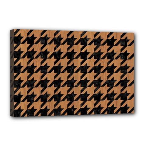 Houndstooth1 Black Marble & Light Maple Wood Canvas 18  X 12  by trendistuff