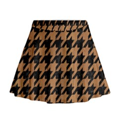 Houndstooth1 Black Marble & Light Maple Wood Mini Flare Skirt
