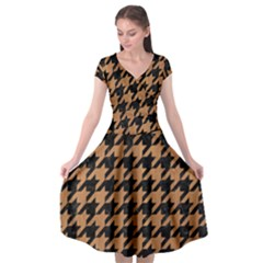 Houndstooth1 Black Marble & Light Maple Wood Cap Sleeve Wrap Front Dress